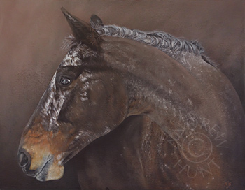 Portrait painting of a horse called Buddy.