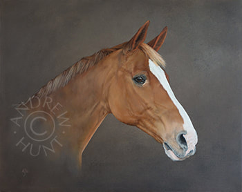 Dickie: Chestnut American Warmblood - horse portrait painting
