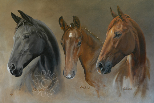 A painting of horses: Florence, Freddie and Rohanna
