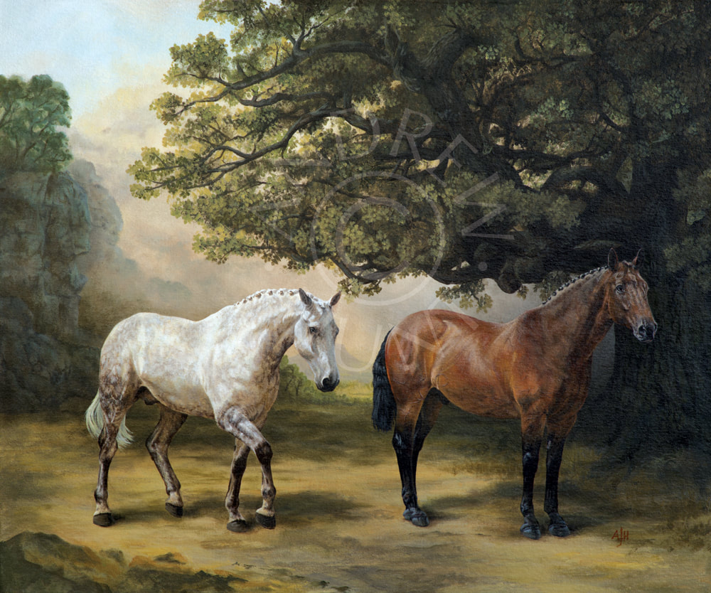 Equestrian painting for sale - Hunters at rest